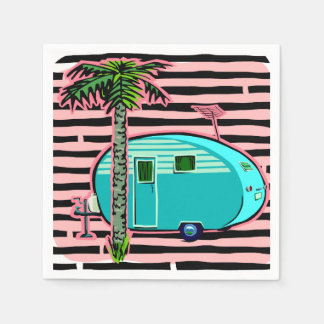Retro Camper in Pin and Turquoise Napkin