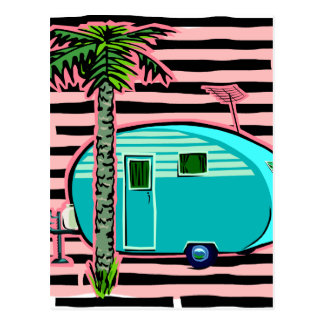 Retro Camper in Pin and Turquoise Postcard