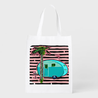 Retro Camper in Pin and Turquoise Reusable Grocery Bag