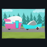 """Retro Camper / Trailer and Car Cloth Placemat<br><div class=""""desc"""">This Retro Camper / Trailer and Car Cloth Placemat features a mid century modern, minimalist cartoon drawing that will leave you ready to take to the open road. An homage to the 1950s, this design features a vintage turquoise car with white top, pulling a kitschy travel trailer to its final...</div>"""