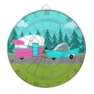 Retro Camper / Trailer and Car Dart Bard Dart Board