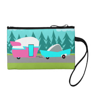Retro Camper / Trailer and Car Key Coin Clutch