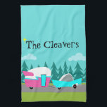 "Retro Camper / Trailer and Car Kitchen Towel<br><div class=""desc"">This Customizable Retro Camper / Trailer and Car Kitchen Towel features a mid century modern, minimalist cartoon drawing that will leave you ready to take to the open road. An homage to the 1950s, this design features a vintage turquoise car with white top, pulling a kitschy travel trailer to its...</div>"