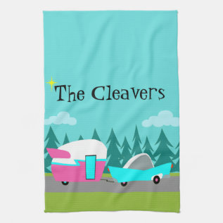 Retro Camper / Trailer And Car Kitchen Towel at Zazzle