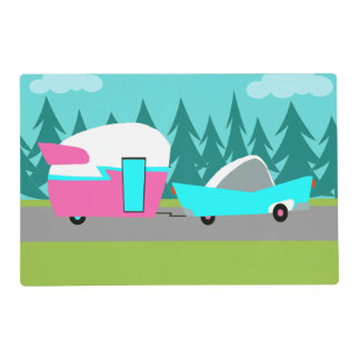 Retro Camper / Trailer and Car Laminated Placemat