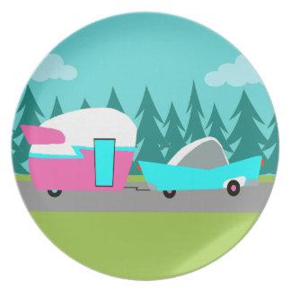 Retro Camper / Trailer and Car Melamine Plate
