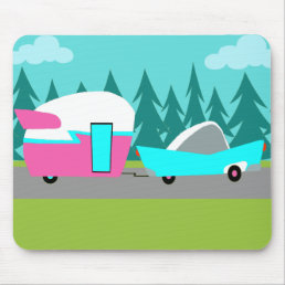 Retro Camper / Trailer and Car Mousepad