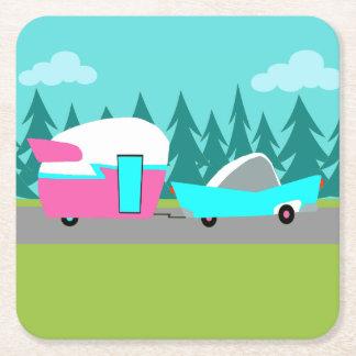 Retro Camper / Trailer and Car Paper Coasters