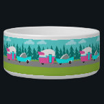 """Retro Camper / Trailer and Car Pet Bowl<br><div class=""""desc"""">This Retro Camper / Trailer and Car Ceramic Pet Bowl features a mid century modern, minimalist cartoon drawing that will leave you ready to take to the open road. An homage to the 1950s, this design features a vintage turquoise car with white top, pulling a kitschy travel trailer to its...</div>"""