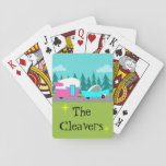"Retro Camper / Trailer and Car Playing Cards<br><div class=""desc"">These Customizable Retro Camper / Trailer and Car Playing Cards feature a mid century modern, minimalist cartoon drawing that will leave you ready to take to the open road. An homage to the 1950s, this design features a vintage turquoise car with white top, pulling a kitschy travel trailer to its...</div>"