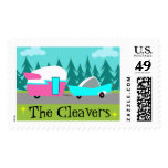 Retro Camper / Trailer and Car Postage Stamps