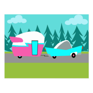 Retro Camper / Trailer and Car Postcard