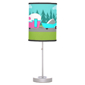 Classic car table pendant lamps zazzle retro camper trailer and car table lamp mozeypictures Choice Image