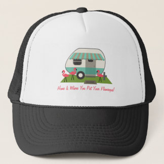 Retro Camper / Trailer & Pink Flamingos Home Is... Trucker Hat