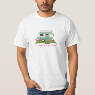 Retro Camper / Trailer & Pink Flamingos T-Shirt