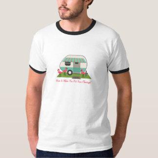 Retro Camper / Trailer & Pink Flamingos T-Shirt