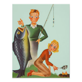 Retro Camping Fishing Note Invitation Announcement