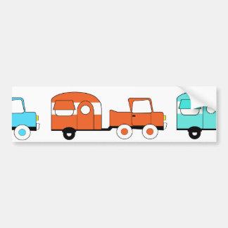 Retro Camping Trailer Turquoise Orange Vintage Car Bumper Sticker