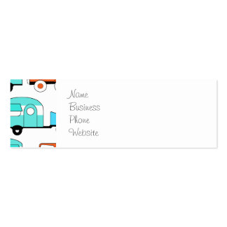 Retro Camping Trailer Turquoise Orange Vintage Car Business Card Template