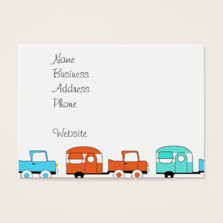Retro Camping Trailer Turquoise Orange Vintage Car Business Card