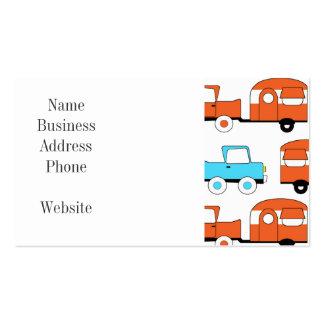 Retro Camping Trailer Turquoise Orange Vintage Car Business Cards