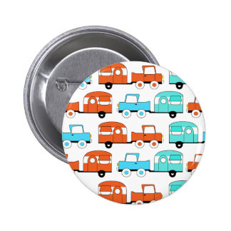 Retro Camping Trailer Turquoise Orange Vintage Car Pins