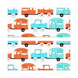 Retro Camping Trailer Turquoise Orange Vintage Car Canvas Print