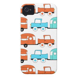 Retro Camping Trailer Turquoise Orange Vintage Car iPhone 4 Cover