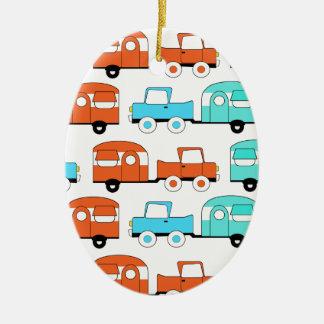 Retro Camping Trailer Turquoise Orange Vintage Car Ceramic Ornament