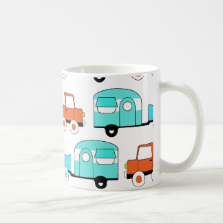 Retro Camping Trailer Turquoise Orange Vintage Car Coffee Mug