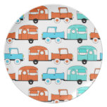 Retro Camping Trailer Turquoise Orange Vintage Car Dinner Plate