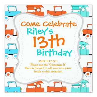Retro Camping Trailer Turquoise Orange Vintage Car Personalized Invites