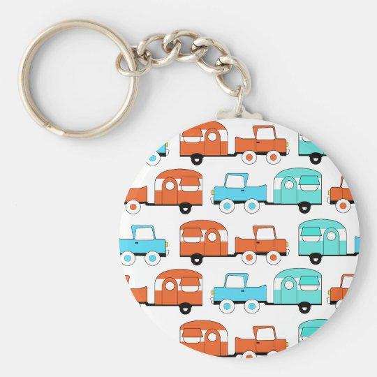 Retro Camping Trailer Turquoise Orange Vintage Car Keychain