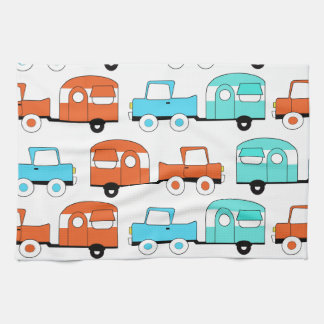 Retro Camping Trailer Turquoise Orange Vintage Car Hand Towels