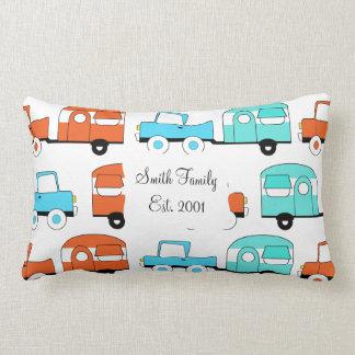 Retro Camping Trailer Turquoise Orange Vintage Car Lumbar Pillow