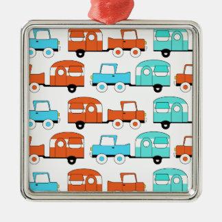 Retro Camping Trailer Turquoise Orange Vintage Car Metal Ornament