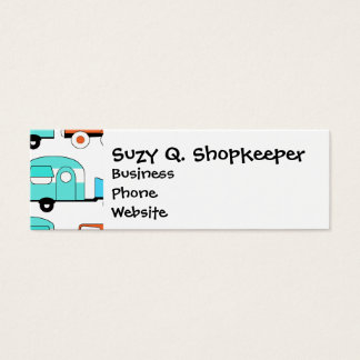 Retro Camping Trailer Turquoise Orange Vintage Car Mini Business Card