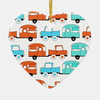 Retro Camping Trailer Turquoise Orange Vintage Car Ornament