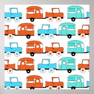 Retro Camping Trailer Turquoise Orange Vintage Car Print