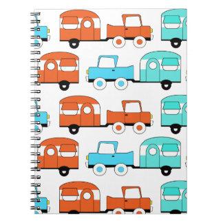 Retro Camping Trailer Turquoise Orange Vintage Car Spiral Notebook