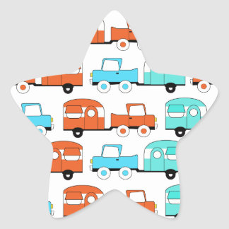 Retro Camping Trailer Turquoise Orange Vintage Car Star Sticker