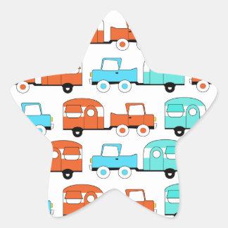 Retro Camping Trailer Turquoise Orange Vintage Car Star Sticker