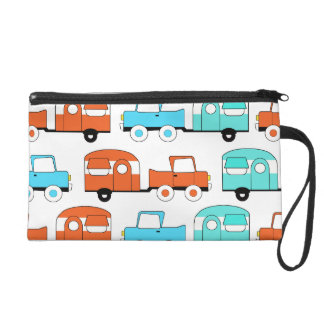 Retro Camping Trailer Turquoise Orange Vintage Car Wristlet Purse