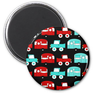 Retro Camping Trailer Turquoise Red Vintage Cars 2 Inch Round Magnet