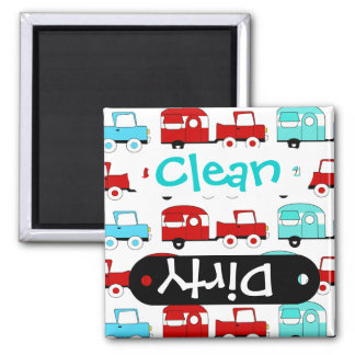 Retro Camping Trailer Turquoise Red Vintage Cars 2 Inch Square Magnet