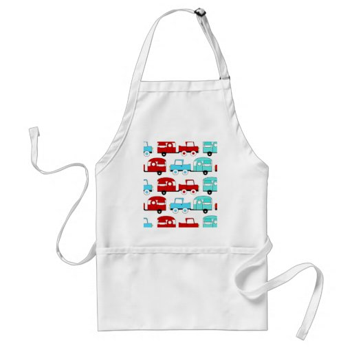 Retro Camping Trailer Turquoise Red Vintage Cars Adult Apron