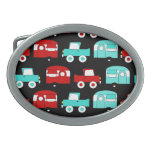 Retro Camping Trailer Turquoise Red Vintage Cars Oval Belt Buckle