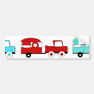 Retro Camping Trailer Turquoise Red Vintage Cars Bumper Sticker
