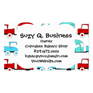 Retro Camping Trailer Turquoise Red Vintage Cars Business Card