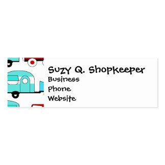 Retro Camping Trailer Turquoise Red Vintage Cars Business Cards